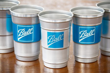 Ball launches aluminium cups